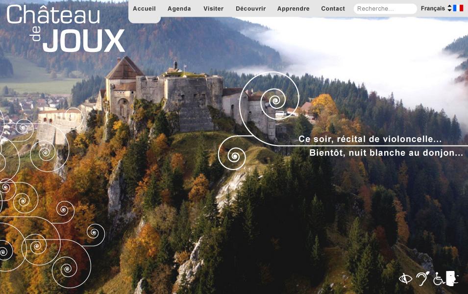 Château de Joux 01 : Interface, page d'accueil