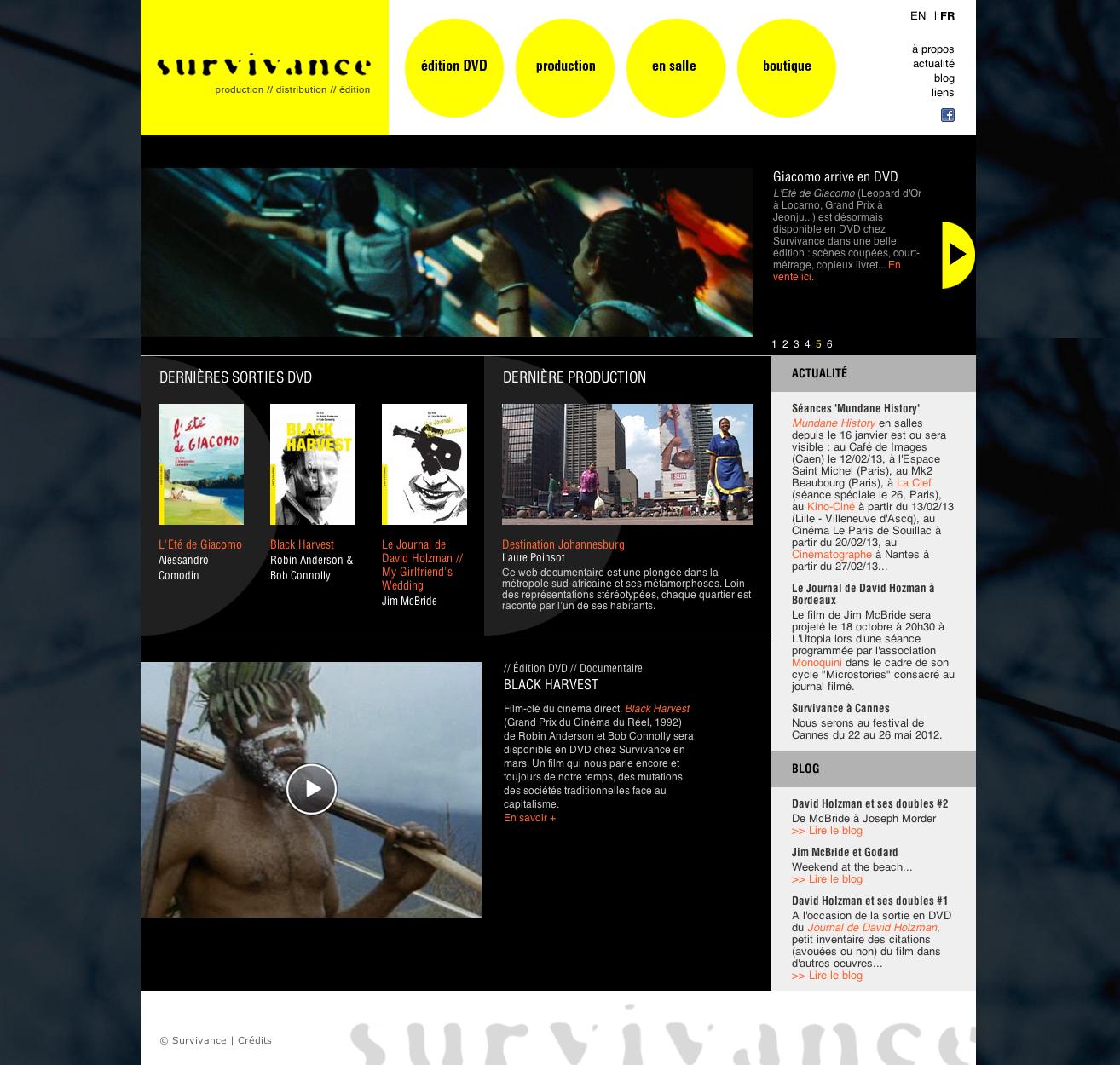Survivance, interface : page d'accueil