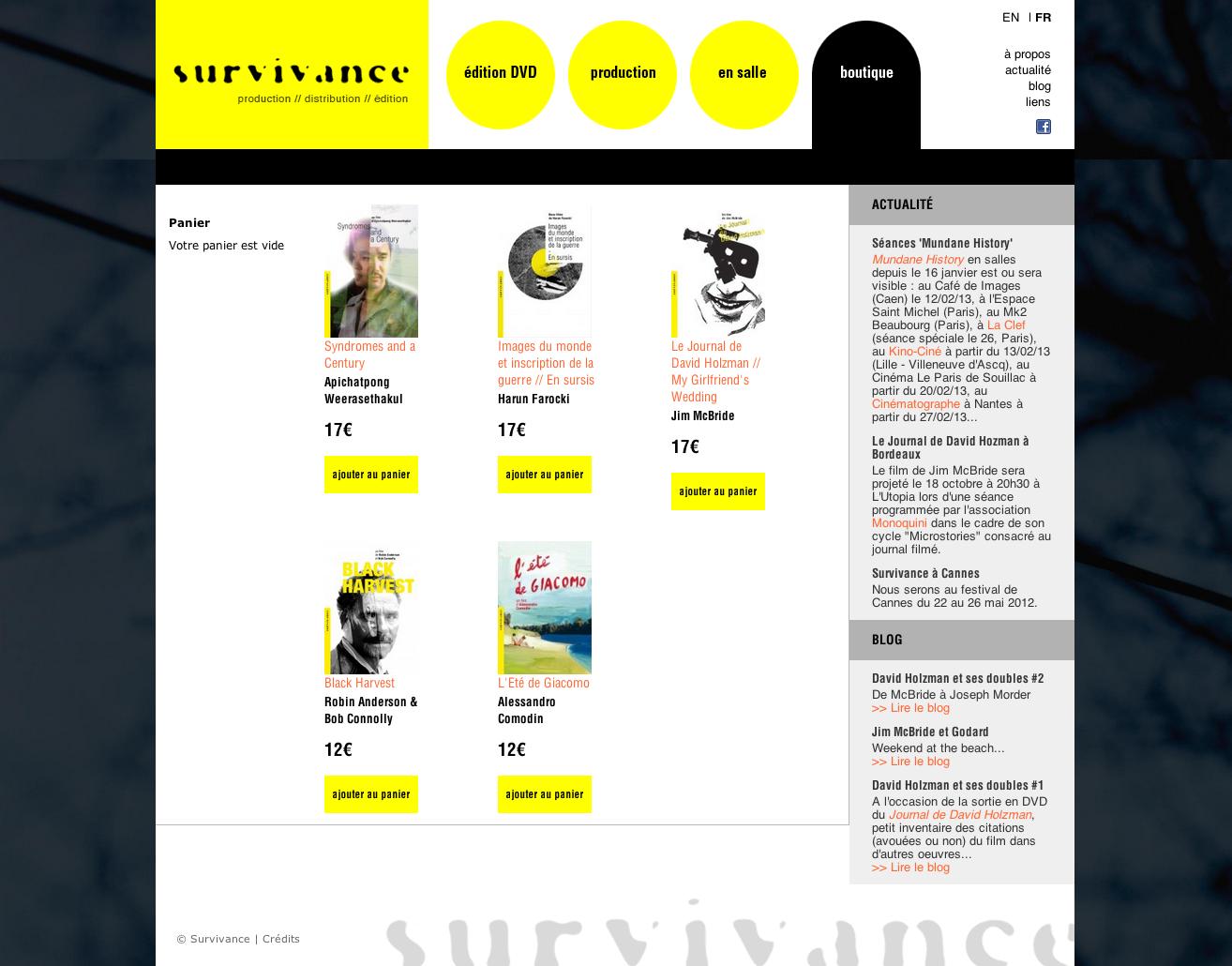 Survivance, interface : page intérieur